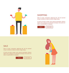 designed pages shopping on vector image