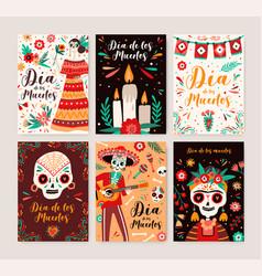 dia de los muertos posters templates set catrina vector image