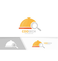 dish and loupe logo combination plate and vector image