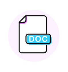 doc file format extension color line icon vector image