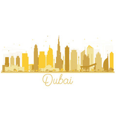 dubai uae city skyline golden silhouette vector image