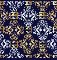 Elegant damask seamless pattern floral dark blue vector