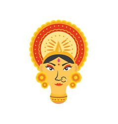 Face goddess durga in white background vector