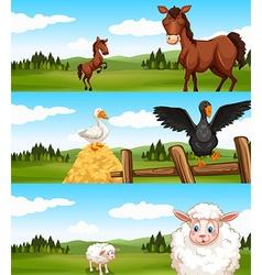 Farm animals living in the farm vector image