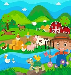 Farmer and farm animals in the farm vector