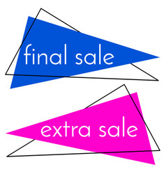 final sale blue banner and extra sale pink banner vector image