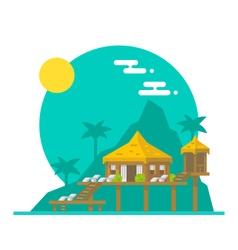 flat design beach villa vector image