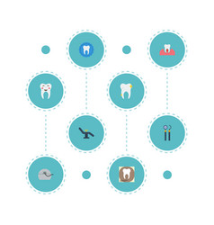 Flat icons furniture halitosis radiology and vector