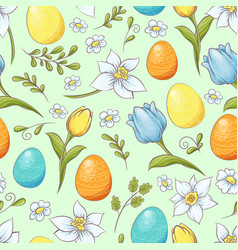 floral seamless pattern with eggs and stylized vector image