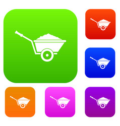 garden wheelbarrow set collection vector image