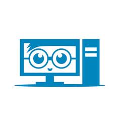 Geek pc computer logo design template vector