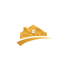Gold low poly house real estate vector