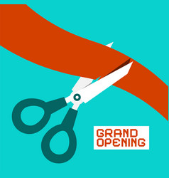 grand opening scissors cutting ribbon retro flat vector image