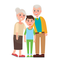 Grandparents with grandson isolated characters vector