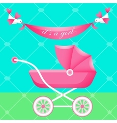Greeting card with pink carriage vector