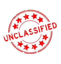grunge red unclassified word with star icon round vector image