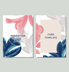 hand drawn tropical blue pink and white leaves vector image