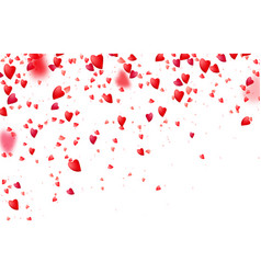 Heart confetti border background falling from vector
