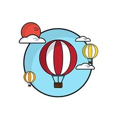 Hot Air Balloon In Sky Flat Design vector image