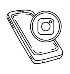 Instagram icon doodle hand drawn or outline icon vector