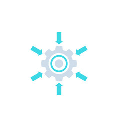 integration system icon with cogwheel and arrows vector image