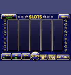 Interface slot machine in blue colored vector