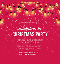 invitation to christmas party glitter background vector image