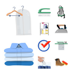 Isolated object of laundry and clean logo set of vector