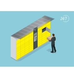 Isometric Parcel Delivery Lockers Self-service vector