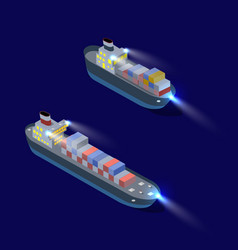 Isometric ship cargo container and industrial vector
