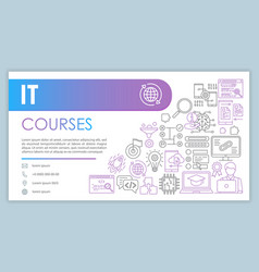 it course banner business card template software vector image