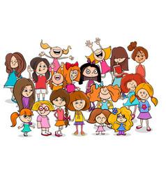 Kid or teen cartoon girls characters group vector