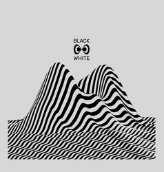 Landscape background terrain black white 3d art vector