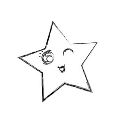 Line kawaii funny and cute star design vector