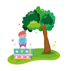 little chubby boy with books in the landscape vector image