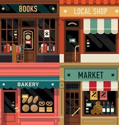 Local Shops Shopfront Icon Set vector