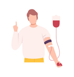 Male donor or volunteer character giving blood in vector