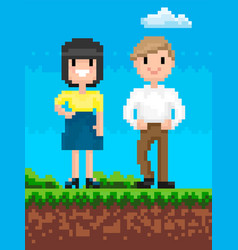 Man and woman pixelated characters retro style vector