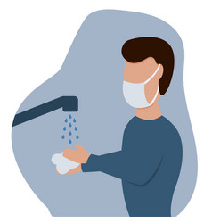 man in a protective mask washes his hands vector image