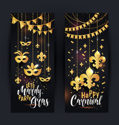 mardi gras gold vertical banners set with a mask vector image