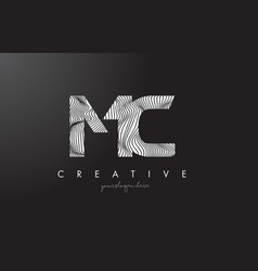 Mc m c letter logo with zebra lines texture vector
