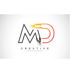 Md creative modern logo design with orange and vector