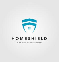 minimalist home building shield logo design vector image