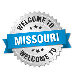 Missouri 3d silver badge with blue ribbon vector