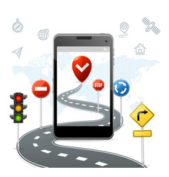 mobile navigation concept with traffic road signs vector image