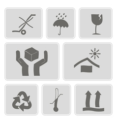 monochrome icons with packaging symbols vector image
