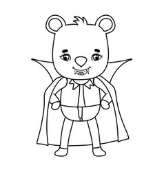 Outline nice bear with dracula vampire costume and vector