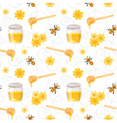 Pattern with flying bees honey vector