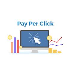 Pay per click flat concept vector