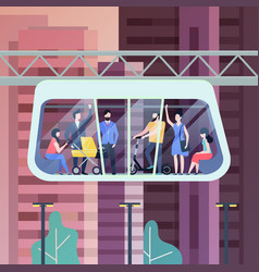 people at futuristic monorail carriage or cabin vector image